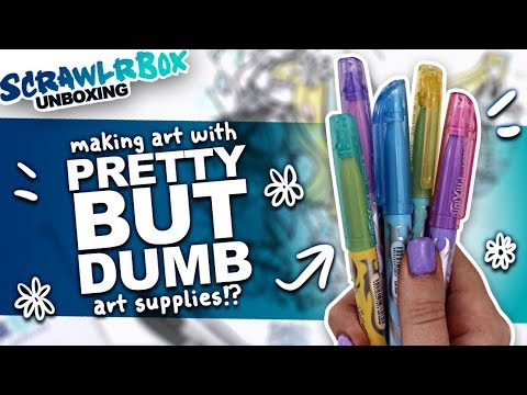 THESE PENS DO WHAT?! | Mystery Art Box | Scrawlrbox Unboxing | Highlighters and Erasable Pens