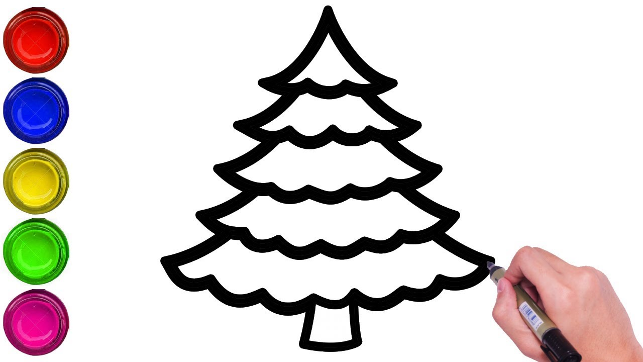 HOW TO DRAW CHRISTMAS TREE EASILY   DRAW CHRISTMAS TREE STEP BY STEP   DRAW SIMPLE CHRISTMAS ...