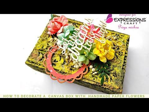 #DIY How to Decorate a   box | Canvas Box  Decoration | Mixed Media Box | #DIY Altered Box  ideas