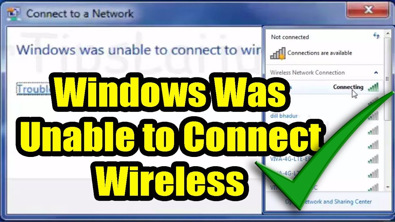 Windows Was Unable To Connect To WiFi Network. Fix Wireless ...