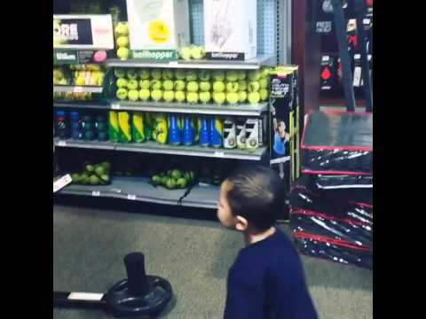 Toddler doesn't see what's coming to him.
