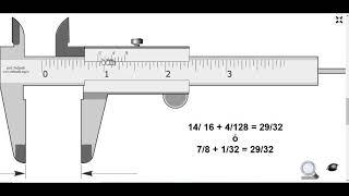 Uso y manejo del Vernier en Fracciones de pulgadas (SIMULACIÓN)