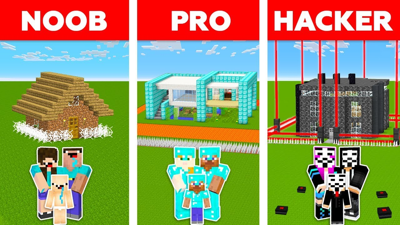 Minecraft NOOB vs PRO vs HACKER : SAFEST FAMILY HOUSE CHALLENGE in minecraft / Animation