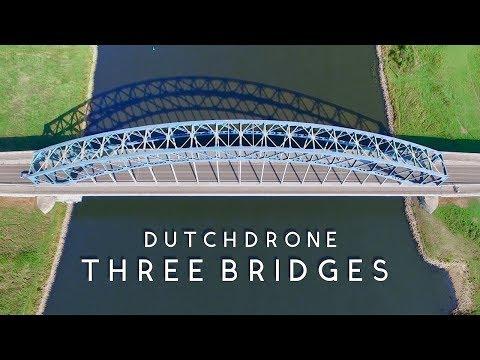 Three Bridges on the River IJssel, the Netherlands - DJI Phantom 3 Pro [4K]