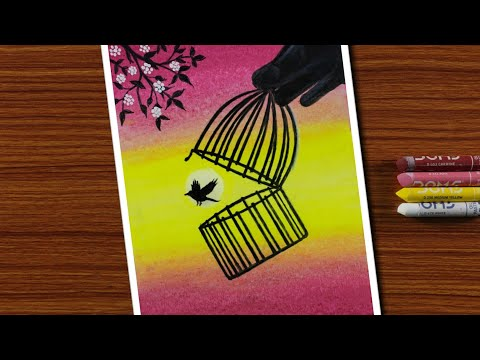 easy-oil-pastels-drawing-for-beginners---bird-out-from-cage/freedom---step-by-step