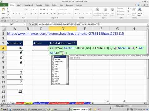 Excel Magic Trick 788: Add Numbers After Last Zero