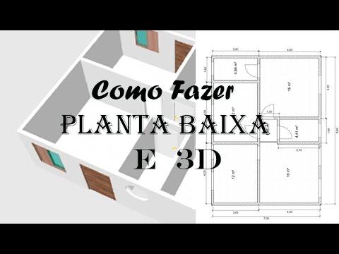 Como fazer planta baixa e 3d de casa youtube for Casa 3d gratis