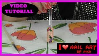Video Tutorial - Nail Art Base Nude e Fiori Colorati #168 By Nika