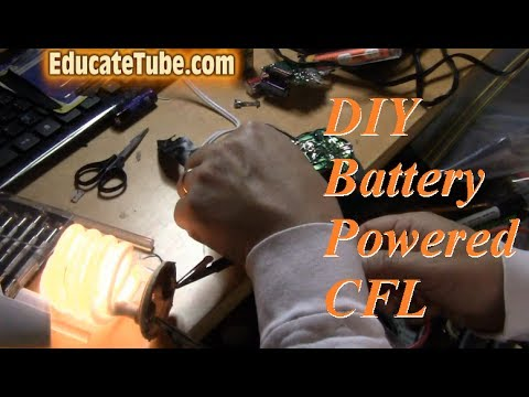 How to make battery powered Compact Fluorescent Lightbulb (CFL) with disposable flash camera circuit