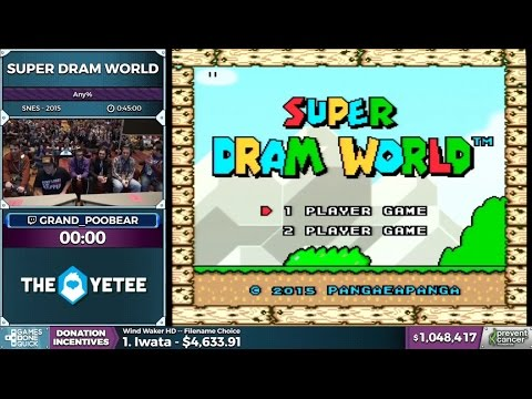 Download Youtube: Awesome SpeedRun of Super Dram World @ AGDQ with Grand Poo Bear