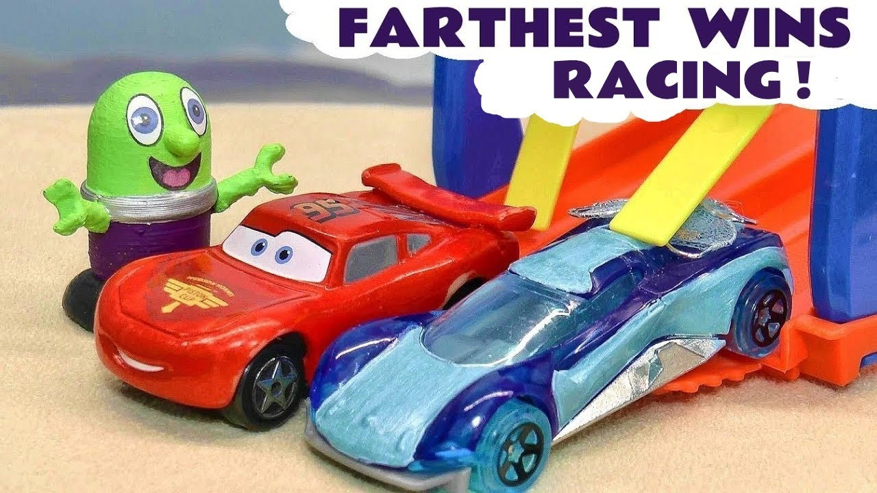 Pixar Cars 3 McQueen in a Funlings Race - Toy Car Farthest Wins Racing