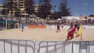 Thailand - Australia, Aust Beach Soccer Cup, North Wollongong Beach, N.S.W. Australia. 8th Dec 2013.