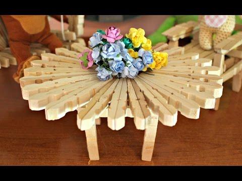 Sedie Fatte Con Mollette Di Legno.Tavolino Con Mollette Diy How To Make A Table With Clothespins World Of Amigurumi