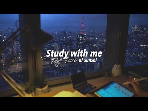 🗼Tokyo at SUNSET 🌆STUDY WITH ME   calm piano + Apple Pencil writing    2 hours (2x60mins)