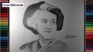 How to draw Indira Gandhi? Indira Gandhi easy drawing by GYAN CHITRAKALA