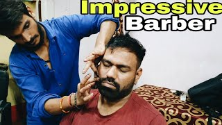 ASMR head massage therapy | neck cracking by Impressive barber