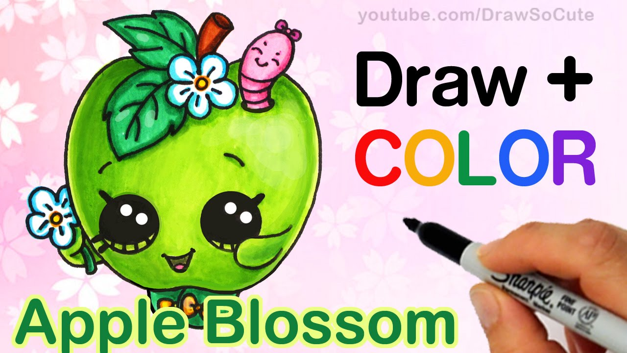 How To Draw Color Shopkins Apple Blossom Step By Cute