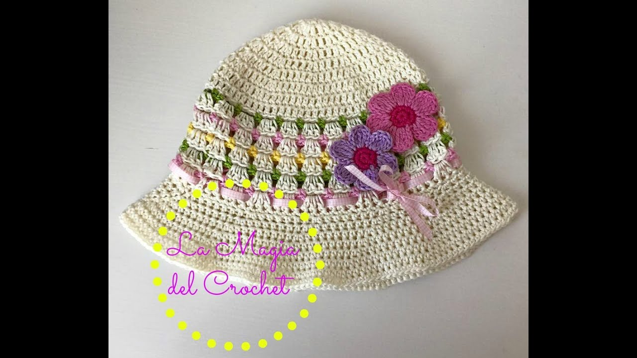 Sombrero de niña a Crochet - YouTube