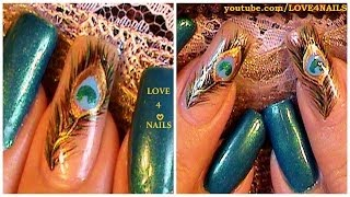How To Paint Peacock Feather Nails ♥ Tutorial