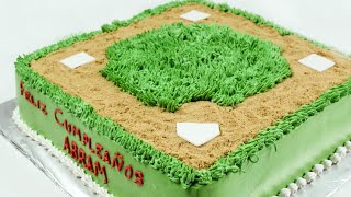 Baseball field cake with whipped cream