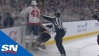 Tom Wilson Tries To Get A Piece Of Brad Marchand Behind The Play