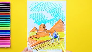 How to draw and color the Great Sphinx and Pyramids, Egypt