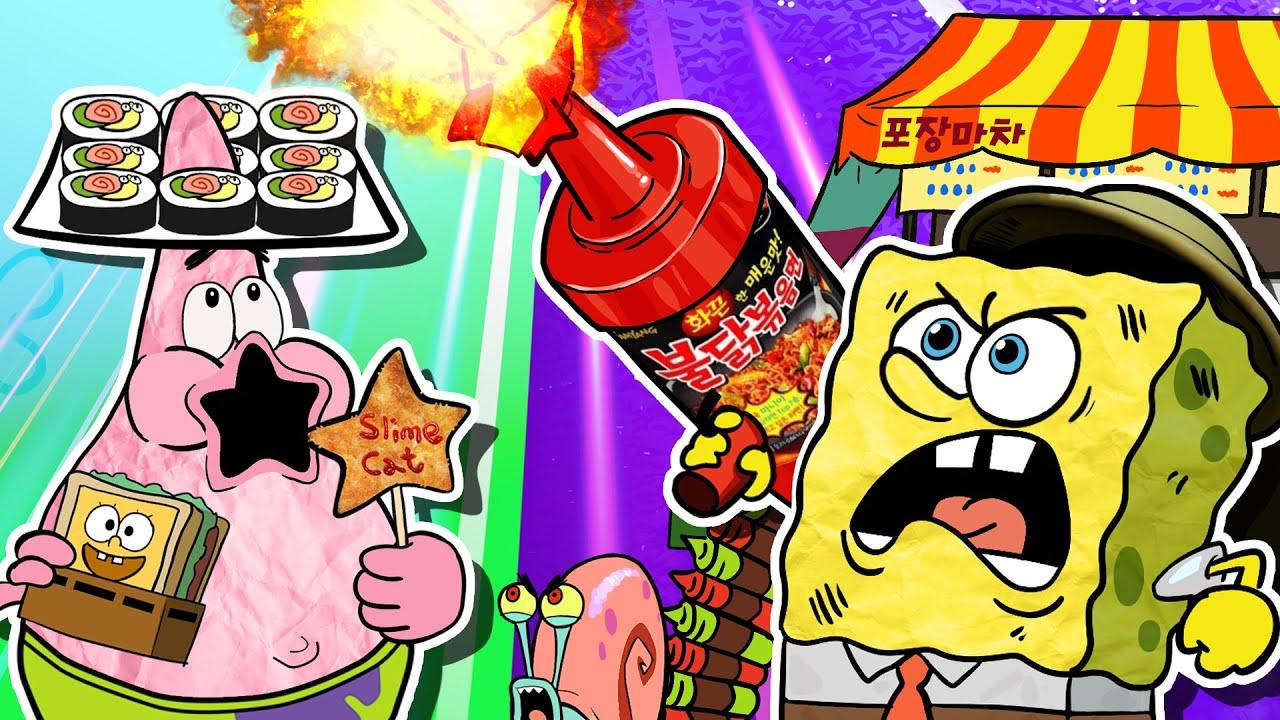 Korean Street Food Mukbang Animation🌶 Combination Pizza Toast Mukbang🥪Spongebob Food Fight-SLIME CAT