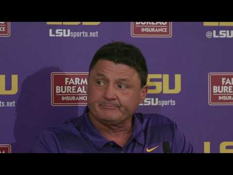 LSU's Ed Orgeron: 'We're nowhere near Alabama, obviously'