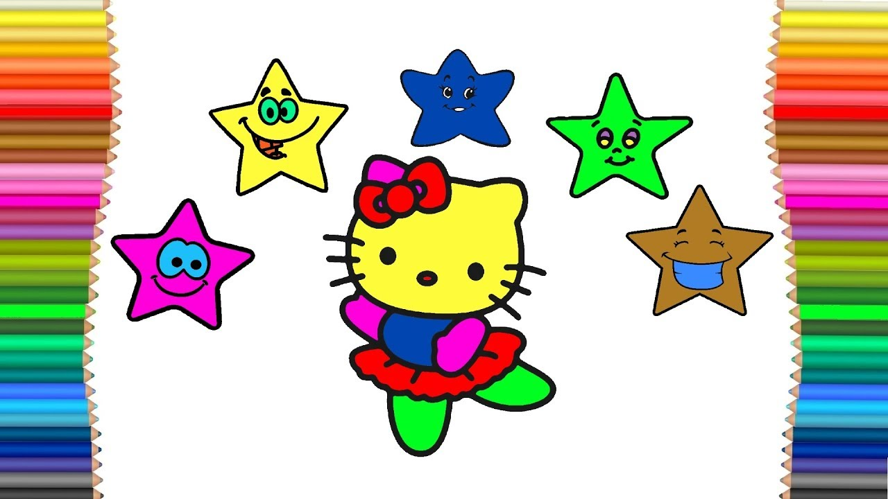 Hello kitty and stars drawing and coloring page for kids