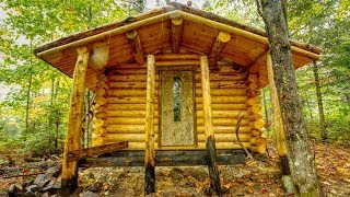 Log Cabin Build in a Rain Storm with My Dog | Off Grid Sauna