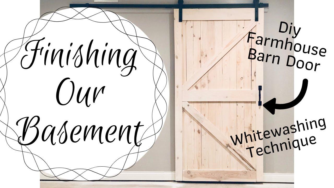 Basement Tour  Farmhouse Barn Door  How to whitewash  Finishing our  Basement  Farmhouse DIY