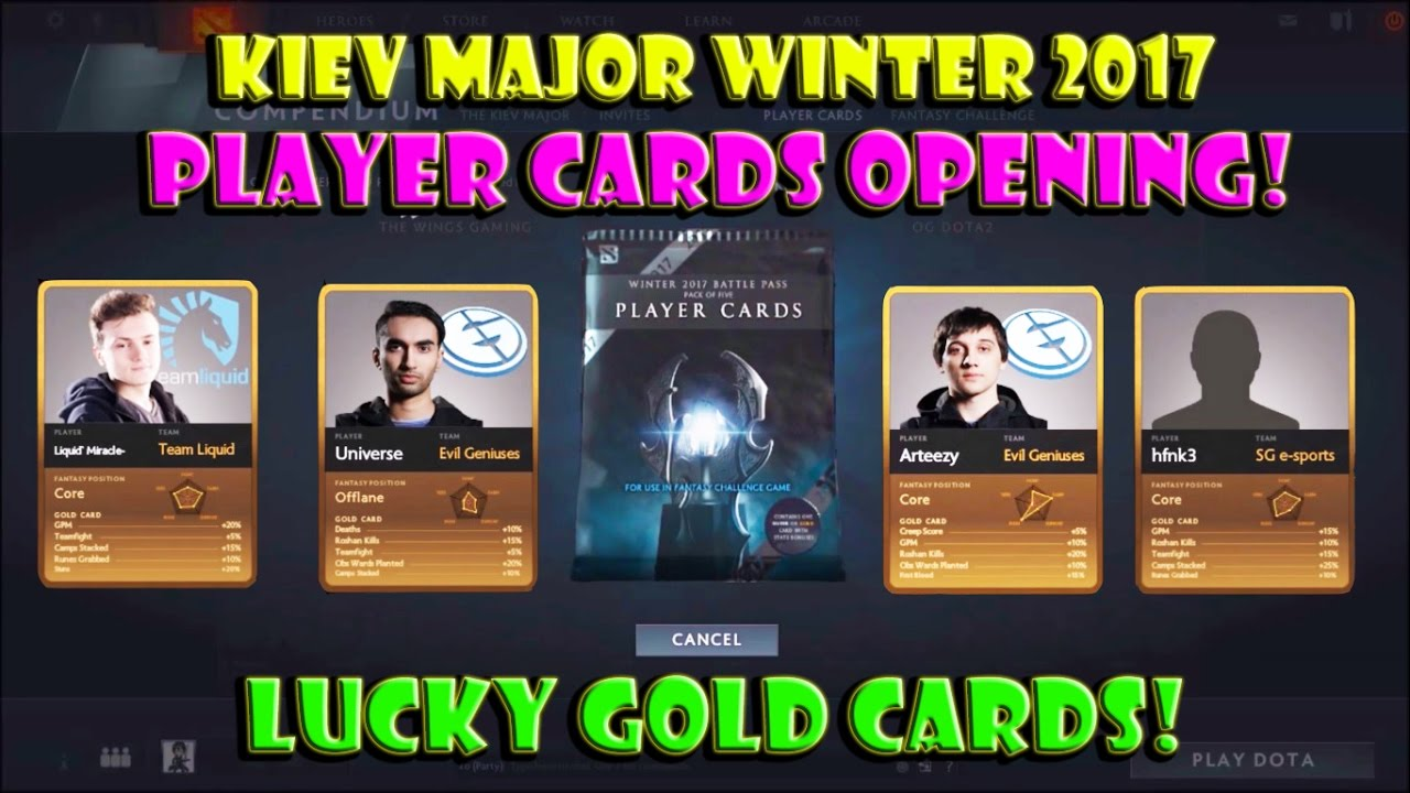 Dota 2 Immortal Items And Player Cards Released: Dota 2 Kiev Major Player Cards OPENING! Lucky GOLD Cards