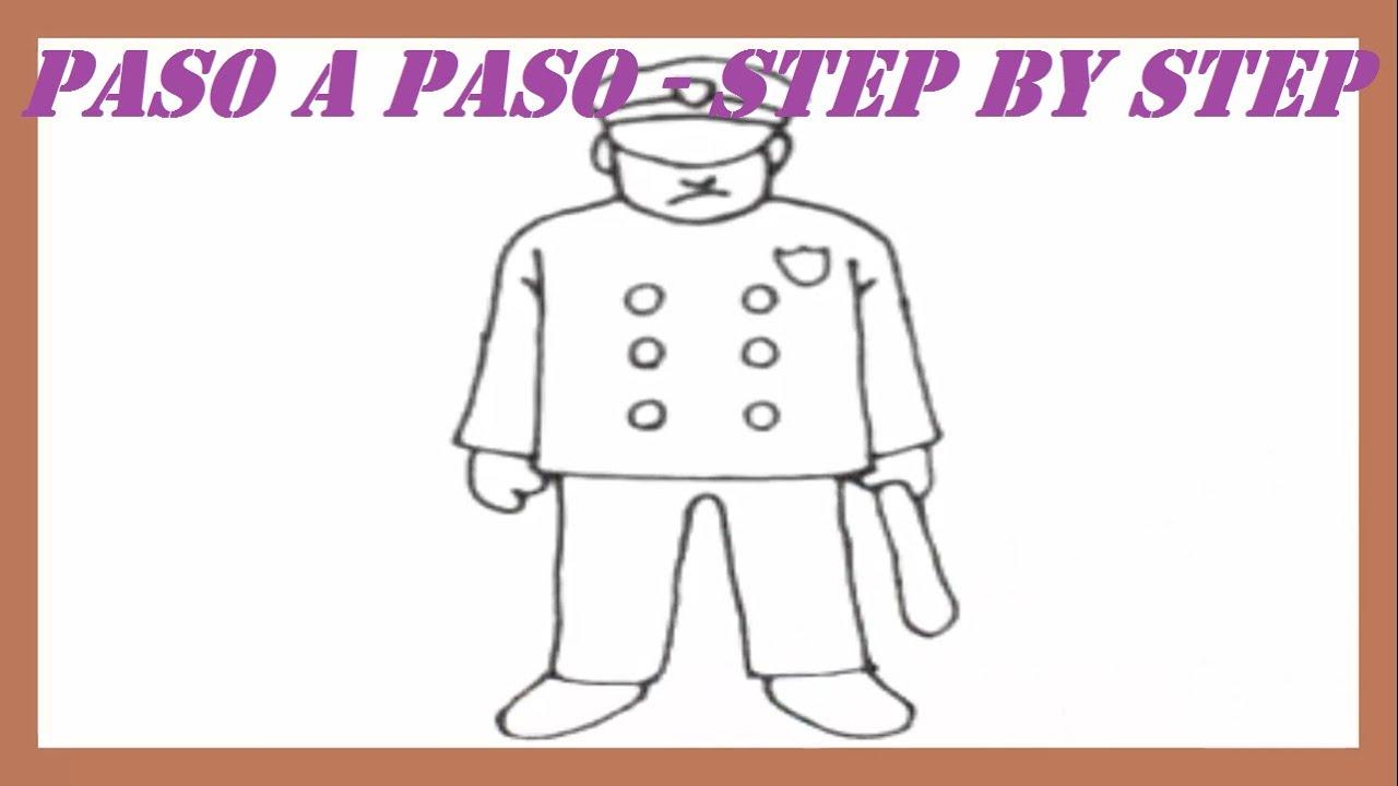 Como dibujar un Policía paso a paso l How to draw a Policeman step ...