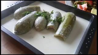 Stuffed zucchini in yogurt sauce. Simple recipe