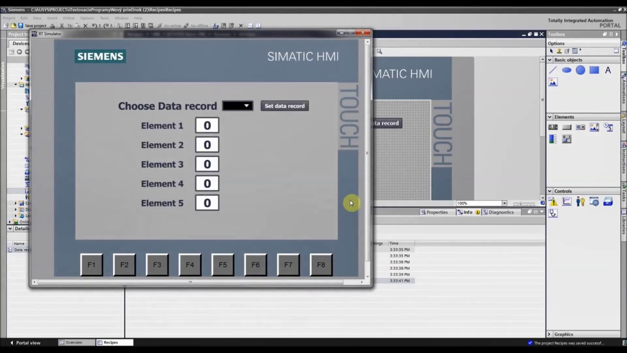 Siemens TIA Portal HMI/PLC tutorial - Recipes (Basic Example 1/2)