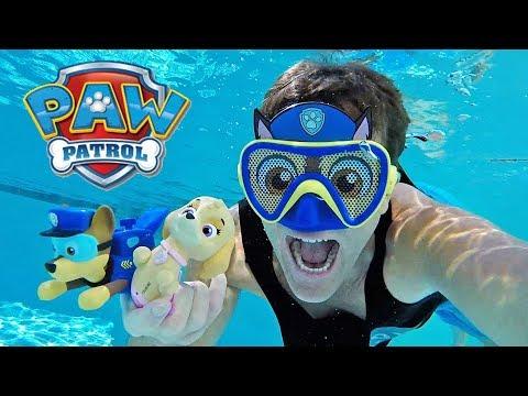 Paw Patrol Paddlin Pups Pool Race - Skye Vs. Chase !    Toy Review    Konas2002