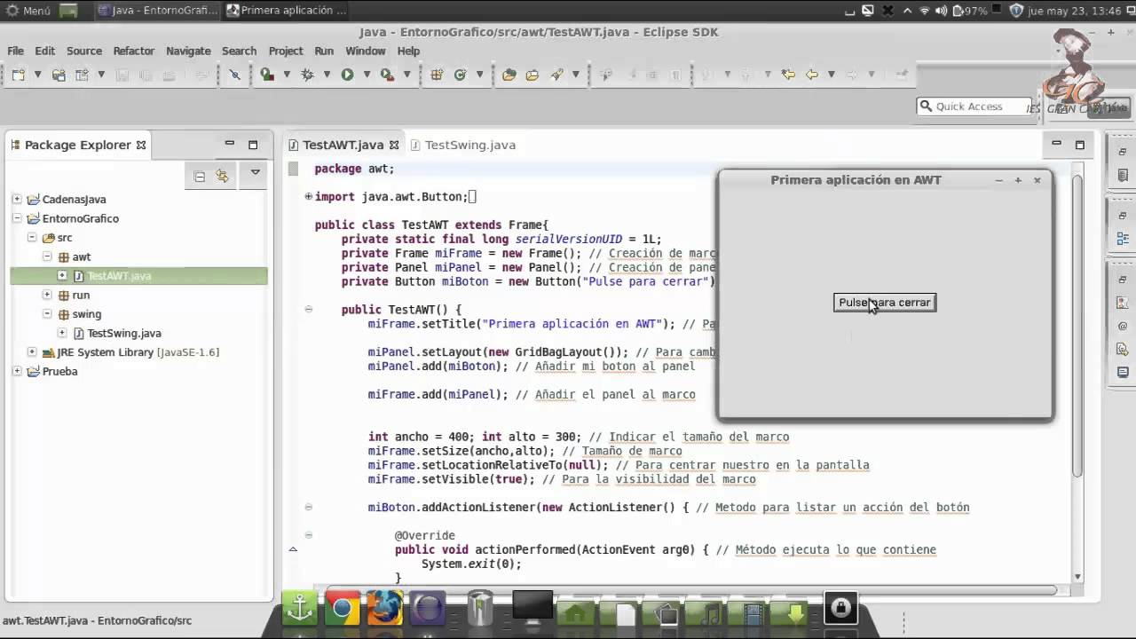 Aprende a programar en Java: Entorno Grafico. awt, swing y run - YouTube
