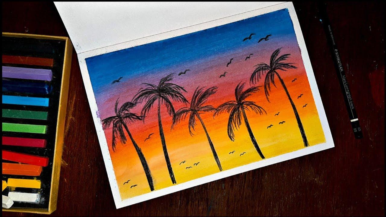 Cara Menggambar Langit Sore Dengan Crayon Soft Pastel Maries Youtube Gambar Langit Cara Menggambar