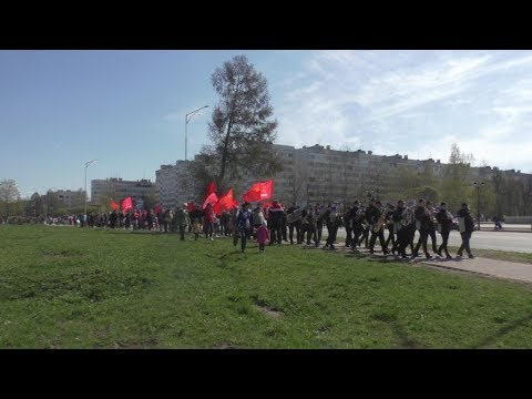 Демонстрация с духовым оркестром 1 мая 2019 г и митинг КПРФ в Тихвине