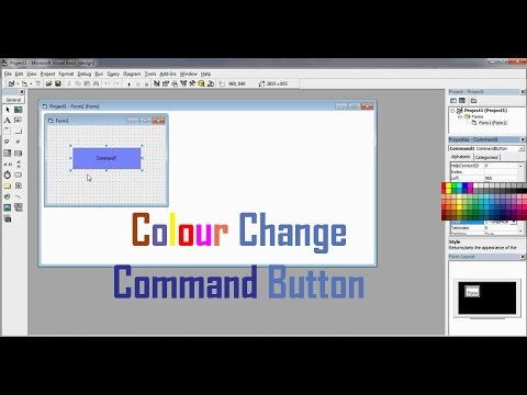How to change the colour of a Command button in Vb 6 0