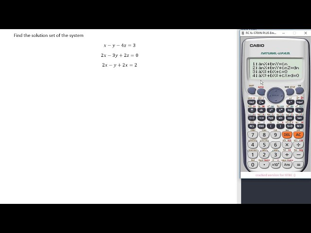 Solving A System Of Three Equations With Three Unknowns Using A