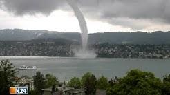 Internetvideo - Wasserhose wirbelt in Zürich