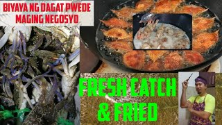 Night crabbing fresh catch and cook rellenong crabs and crispy fried crablets