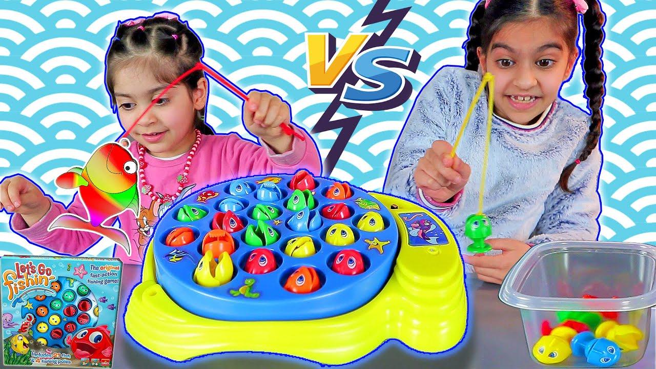 تحدي صيد السمك زينب ضد لارا بلعبة صيد السمك للاطفال 🎣🐟 Let's Go Fishing Game Challenge