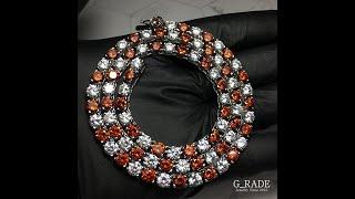 G_RADE Jewelry 지레이드 쥬얼리 [Logo Red White Tennis Link Chian]