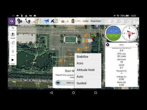 Sky Viper Journey 2450 GPS 2018 release with QGroundControl Android on a  mission plan