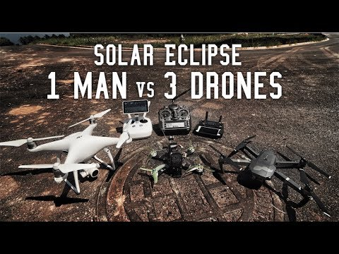 1 Man 3 Drones Solar Eclipse Totality