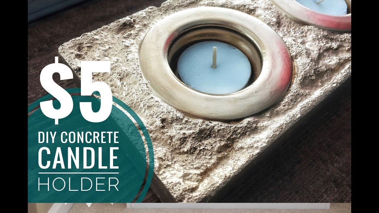 Diy Gold Candle Holders Diy Easy Inexpensive Gold Concrete Candle Holder Youtube