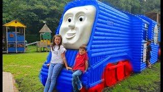 Kids Having Fun on the Real Train