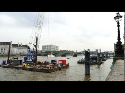 London City - River Thames - Bridge, Cranes - Stock Footage | VideoHive 16703242